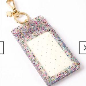 Kate spade jelly multi glitter ID key chain